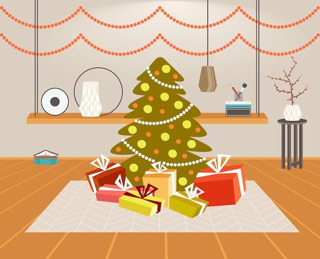 선물 선물 상자 크리스마스 녹색 전나무 트리 메리 크리스마스 새해 복 많이 받으세요 휴일 축 하 개념 현대 거실 인테리어 수평 벡터 일러스트 레이 션