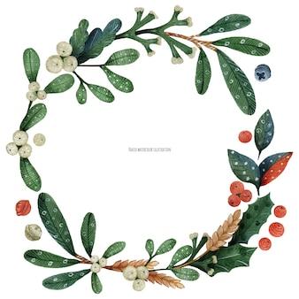 クリスマスの緑の植物とヤドリギの花輪