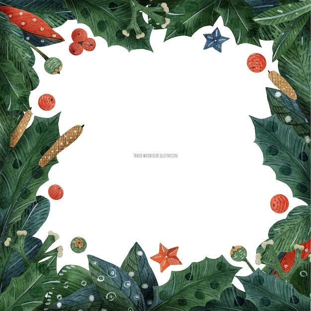 クリスマスの緑の植物と葦のフレーム、水彩画