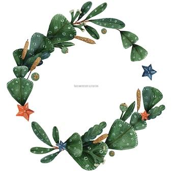 クリスマスの緑の植物と葦の花輪