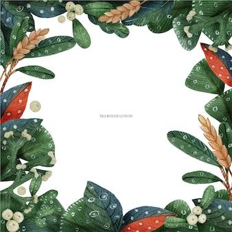 クリスマスの緑の植物と小麦のフレームの水彩画