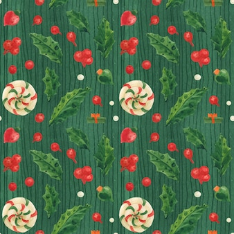 Christmas green seamless pattern with lollipops and glass baubles, traced watercolor