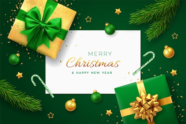 正方形の紙のバナーとクリスマスグリーン