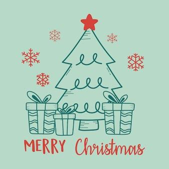 나무와 선물 상자 일러스트와 함께 크리스마스 녹색