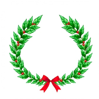 Christmas green wreath decorated with red ribbon bow and berries realistic sign