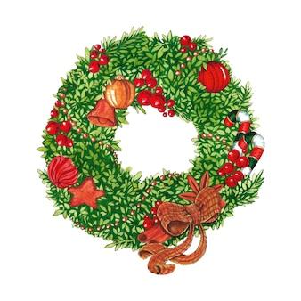 クリスマスグリーンリースフレーム水彩イラスト