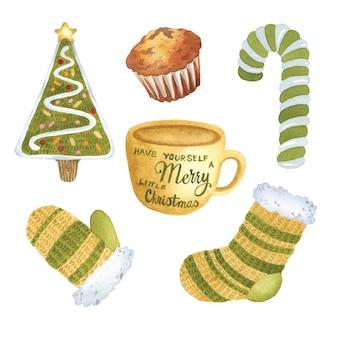 Набор рождественских зеленых желтых акварельных элементов