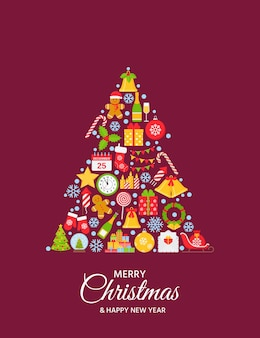 Christmas greeting background. creative illustration with icons in tree shape.