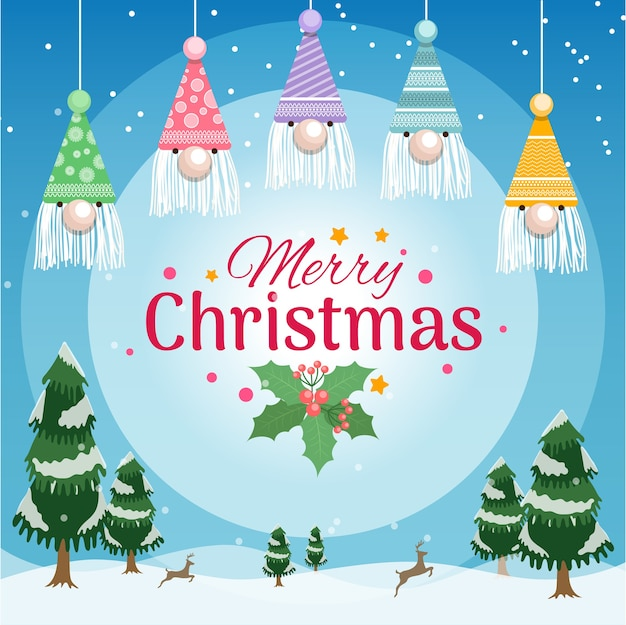 Christmas greeting banner with santa hats decoration and christmas tree with snow