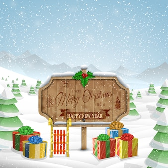 Christmas greeting board illustration.