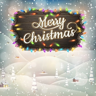 Christmas greeting calligraphy - vintage landscape with signboard.