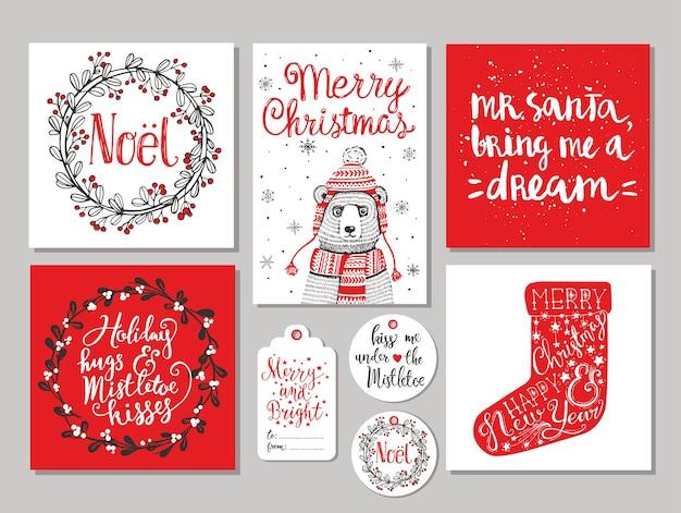 クリスマスグリーティングカードとギフトタグセット