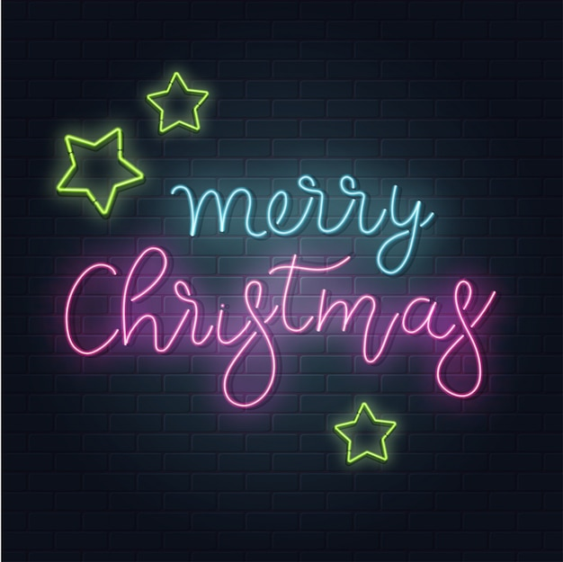 Christmas greeting card, background. christmas lettering in neon style on brick background. blue and purple neon colors, neon stars.. hand drawn lettering. illustration