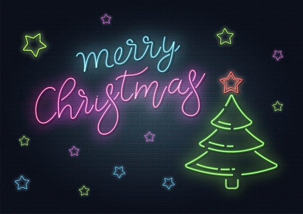 Christmas greeting card, background. christmas lettering in neon style on brick background. blue and purple neon colors, neon stars and xmas fir-tree. hand drawn lettering. illustration