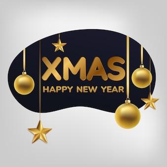クリスマスのグリーティングカード、背景。ゴールドのクリスマスボールと星。明けましておめでとうございます。