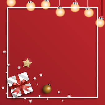 Christmas greeting card background with gifts boxes