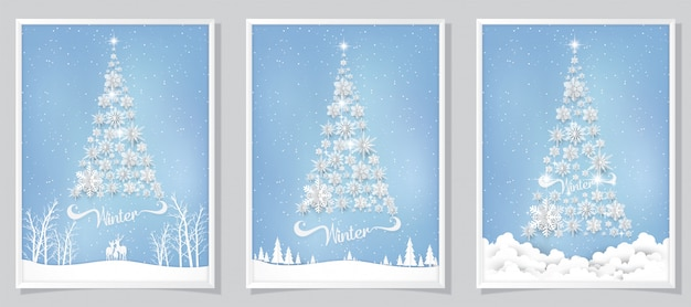 Christmas greeting card background with paper cut snowflake.