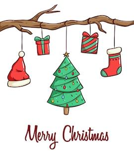 Рождественская открытка, баннер или плакат с рисованными рождественскими элементами
