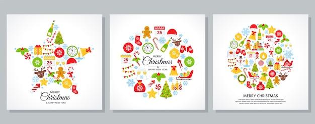 クリスマスのグリーティングカード。クリスマスのアイコンとバナー。漫画の正方形のイラスト。