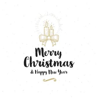 Рождественская открытка - каллиграфическое приветствие и блестящие золотые рождественские свечи с бантиком из лент.