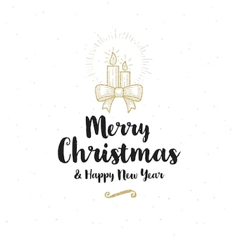 Christmas greeting card - calligraphy greeting and glitter gold christmas candles with ribbons bow.