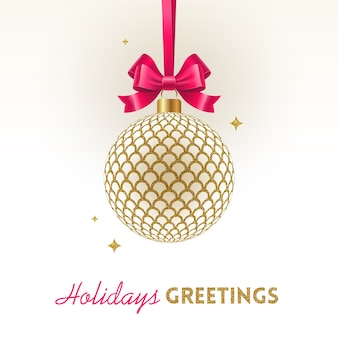 Christmas greeting card - christmas gold patterned bauble with pink bowknot