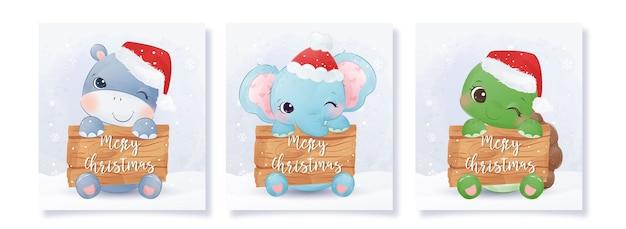 かわいい動物の赤ちゃんとクリスマスグリーティングカードコレクション
