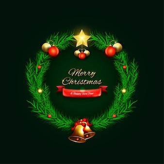 ツリーとクリスマスグリーティングカードの概念