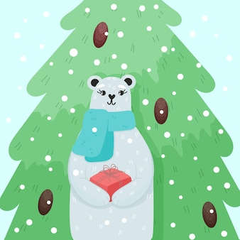 Christmas greeting card cute polar bear holding present box and standing in front of tree