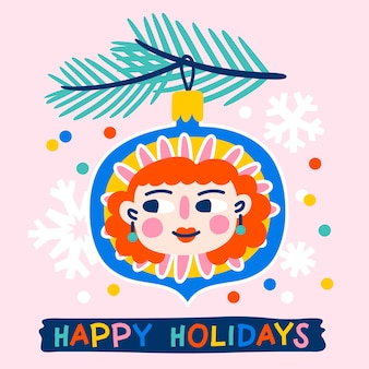 Christmas greeting card decorated with with toy or bauble with funny girls face fir branches and confetti pink background