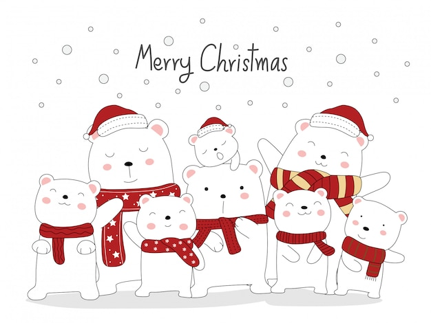 Christmas greeting card design. the cute bear animal cartoon