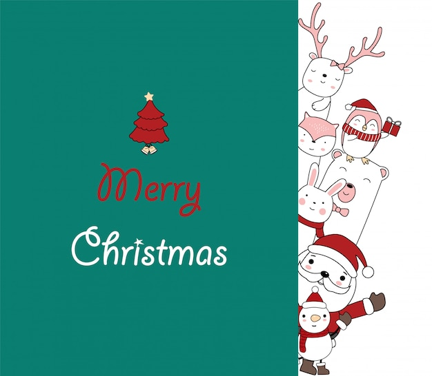 크리스마스 인사말 카드 디자인. 귀여운 아기 동물과 함께 산타 클로스입니다. 손으로 그린 만화 스타일입니다.