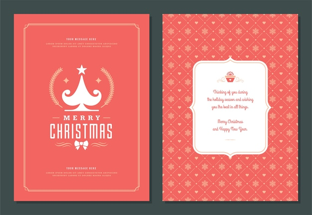 장식 레이블 벡터 일러스트와 함께 크리스마스 인사말 카드 디자인 서식 파일