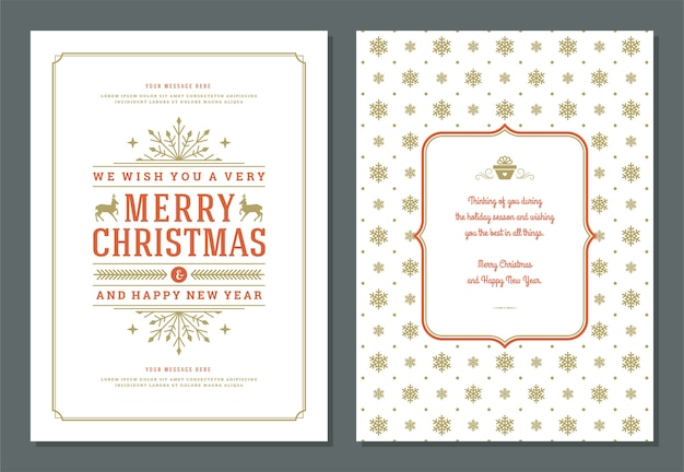 Christmas greeting card design template with decoration label vector illustration