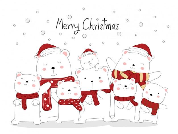 クリスマスのグリーティングカードのデザイン。かわいいクマの動物漫画