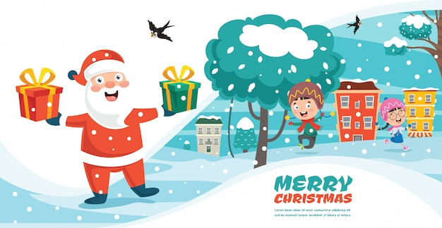 Christmas greeting card design with cartoon characters