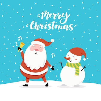 Christmas greeting card design with cartoon santa claus and snowman character, hand drawn design elements, lettering qoute merry christmas.