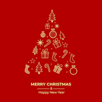 Дизайн рождественской открытки с елкой. рождественская открытка с золотыми украшениями. подарочная коробка. баннер в социальных сетях с сосной, леденцом, носком на красном фоне. рождественский баннер, рождественская открытка