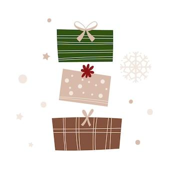 プレゼント付きのクリスマスグリーティングカードのデザイン。ベクトルイラスト。