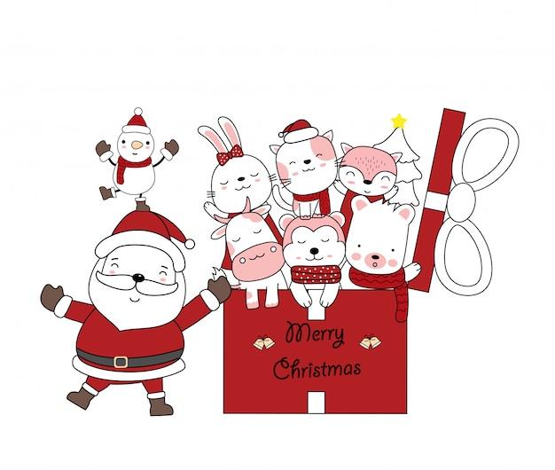 Рождественская открытка дизайн с санта-клаусом и подарочной коробке с милый ребенок животных. ручной обращается мультяшном стиле.