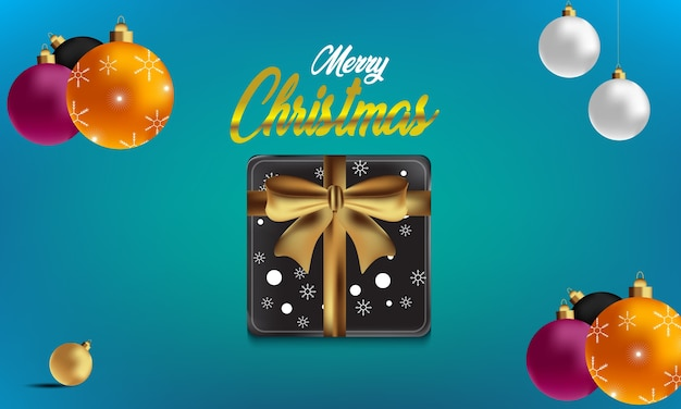 Christmas greeting card, design of xmas balls