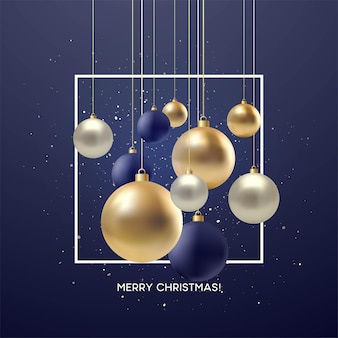 Christmas greeting card, design of xmas black, silvr, gold bauble with golden glitter confetti. vector illustration eps10
