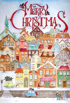 クリスマスのグリーティングカードのデザイン