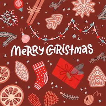 クリスマスグリーティングカードフラットレイ背景