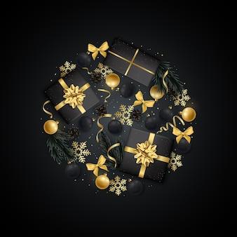 Рождественская открытка flat lay композиция