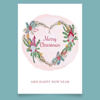 Christmas greeting card in form of heart with scandinavian elfs