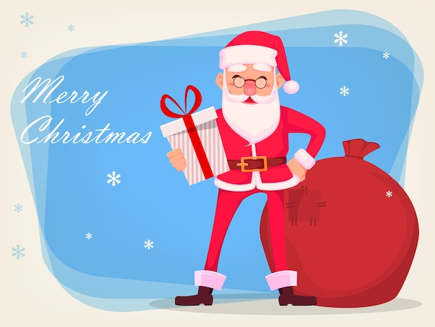 Christmas greeting card. funny santa claus in glasses