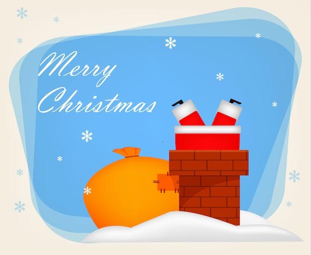 Christmas greeting card. funny santa claus