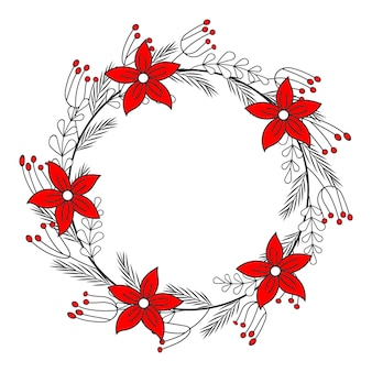 Christmas greeting card. hand drawn circle wreath with poinsettia and leaves. vector illustration. isolated on white. tattoo, line art.