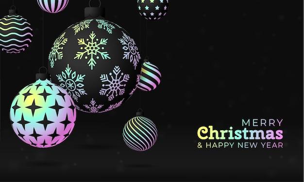 크리스마스 인사말 카드 홀로그램 호일 값싼 물건 공입니다. 무지개 빛깔의 사실적인 축제 볼 그라데이션 홀로그램 네온 음영 색상으로 메리 크리스마스와 새해 복 많이 받으세요. 벡터 일러스트 레이 션